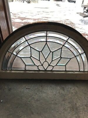 Sg 1856 Gorgeous Antique Arched Zipper Beveled Glass Window 18.25 X 34.5
