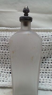 Perfume Bottle Decanter Art Deco Frosted Glass 'Silver' Stopper Vintage