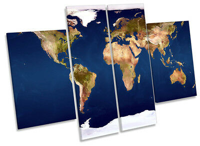 Map of the World Picture CANVAS WALL ART Four Panel