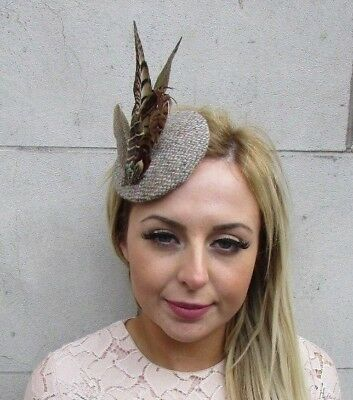 Harris Tweed Beige Brown Pheasant Feather Hat Fascinator Hair Clip Races 5224