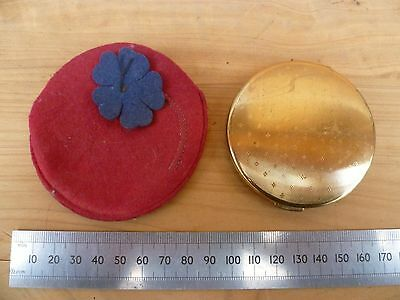 Vintage Old Brass Ladies Compact Mirror & Case (A900)