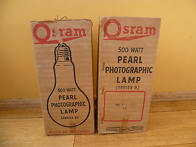 Vintage Old Osram 500 Watt Pearl Photographic Lamp Series B Globes Lot 2
