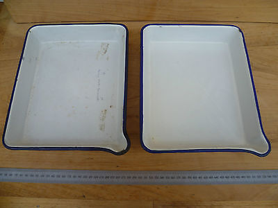 Vintage Old Enamel Photography Drip Trays For Plates Lot '2' (411)