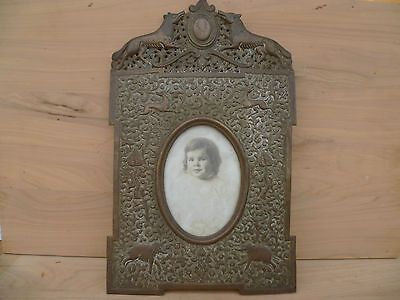 Old Early Very Nice Large Size Brass Indian Picture, Photo Frame, Decorated