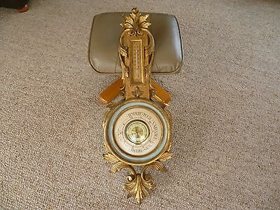 OLD LARGE SIZE VERY NICE ITALY MADE GOLD BAROMETER, DECORATIVE. 880X320X50mm 335
