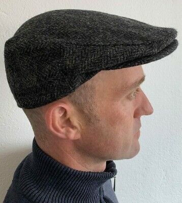 a4f2db6b6 IRISH CAP HAT Grey Charcoal Herringbone Tweed Irish Made John Hanly Ireland  d41