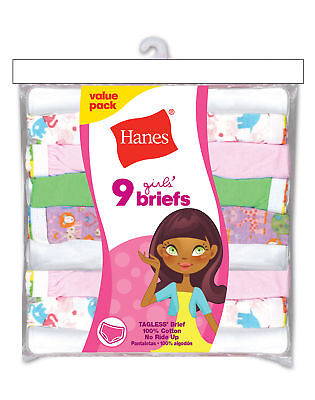 Hanes Girl Briefs Panties 9-Pack No Ride Up Cotton Colored Butterfly Floral 4-16