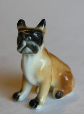 Miniature Bone China English Bulldog Terrier Figurine-Hand Painted-Japan-Label