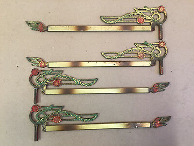 4 Antique Vintage Swing Arm Curtain Rod Extenders Metal Ornate Victorian
