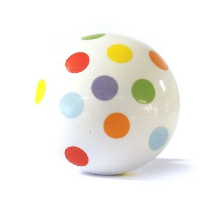 Large Multicolour Spots Ceramic Cupboard Door Knob Drawer Coloured Pull Handle