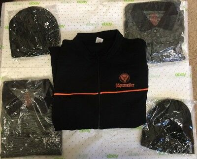 New Jagermeister Clothing XL Sweatshirt, 2 Golf Shirts L & XXL and 2 Hat Beanies