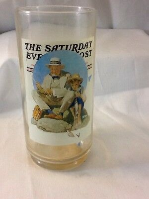 Catching The Big One Norman Rockwell Saturday Evening Post 16Oz Glass Nice