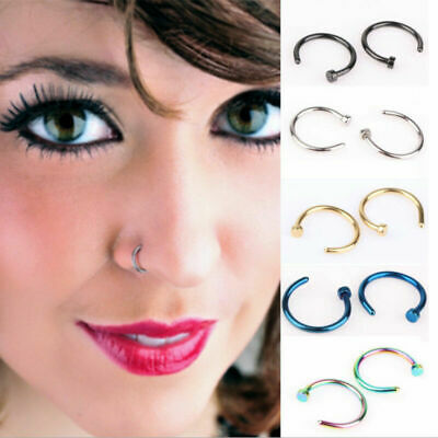 2 X Small Fake Nose Ring Ear Lip Body Piercing Jewellery Silver Gold Black