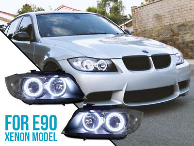 DEPO DRL LED Angel Halo Clear Headlights For 06-08 BMW E90/E91 Stock Xenon Model