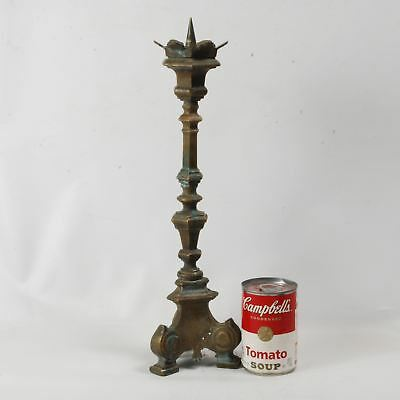 Early 20th C bronze pricket altar candlestick in renaissance style three footed