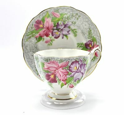 Vintage Nottingham Lace Orchid Teacup Saucer Queen Anne Fine Bone China England