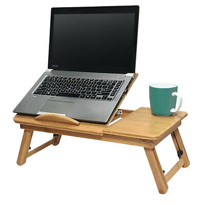 Deluxe Bamboo Laptop Table/Portable Work Station/Desk/Tray Tilt/Foldable Reading