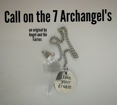 Code 623 Call in the 7 Archangel's Infused Pendulum Clear Quartz dowsing wiccan