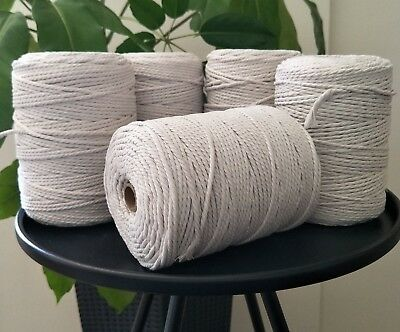 macrame rope 4mm 5kg 1250 m string cord cotton diy macrame white natural crochet