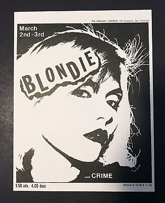 Blondie With Crime 1977 Mabuhay Gardens Flyer (Debbie Harry, Dirk Dirksen, Punk)