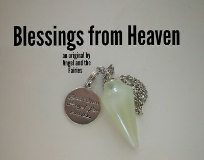 Code 635 BLESSINGS FROM HEAVEN Jade Infused Pendulum Guardian Angel of Success