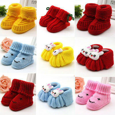Cartoon Baby Boots Knit Soft Sole Kids Snow Boots Baby Warm Winter Crochet Shoes