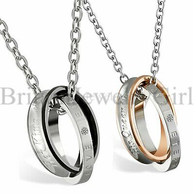 Interlocking Ring His Queen Her King Eternal Love Pendant Couple Necklace Gift
