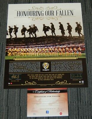Richmond Tigers Cotchin Hardwick Hand Signed Anzac Honouring Our Fallen Print