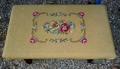 Antique Floral Needlepoint Tapestry Covered Cricket Foot Stool