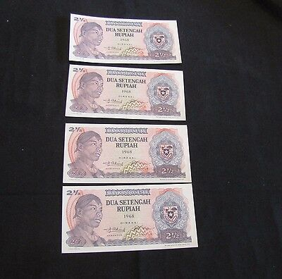 Lot of 4 Indonesia 1968 2 1/2 Rupiah Notes - 2 Sets of 2 Consecutive Notes