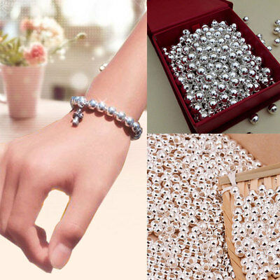 100 Pcs 925 Sterling Silver Round Ball Beads for Jewelry Making Findings 2MM