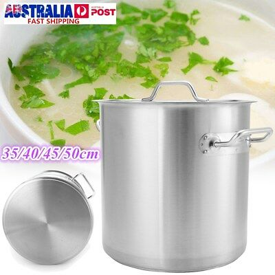 Thicken Stainless Steel Stock Pots Induction Kitchen Soup Cookware 35/40/45/50cm