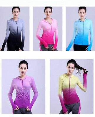 Women Running Jacket Anti Sweat Hooded Yoga Fitness Gym Athletic Gradient Color