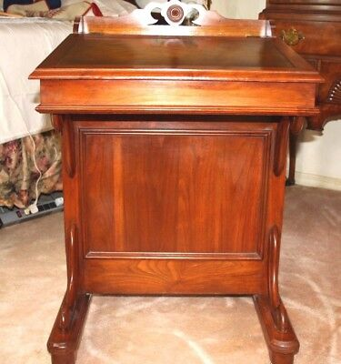 A Victorian Walnut Davenport Slant Lift Top 19Th Century Captains Desk