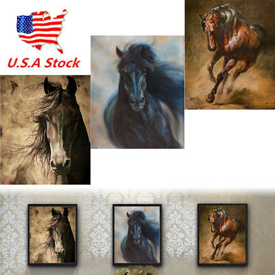 US! Horse Oil color Wall Painting Canvas Picture Print Unframed Mural Home Decor