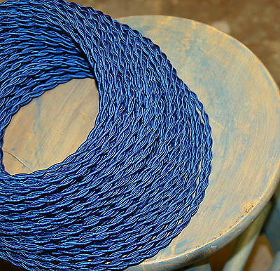 Royal Blue Twisted Cloth Covered Wire, Vintage Style Lamp Cord, Antique Lighting