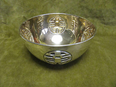 Vintage italian sterling silver fruit bowl Chinese ideograms Capello (To) 342gr