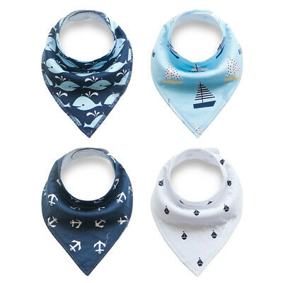 4pcs Baby Bibs Pure Cotton Bandana Feeding Kids Toddler Boy Navy Blue Gray Green