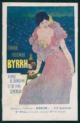 Artist Signed Byrrh Advertising H. Dufau Art Nouveau postcard TC3169