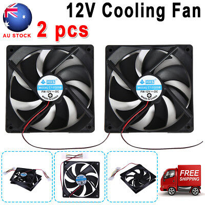 2Pcs 120mm 12V 4Pin DC Brushless PC Computer Case Cooling 120x25mm Cooler Fan