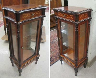 TWO SIMILAR LOUIS XVI STYLE INLAID CURIO CABINETS, Lot 578