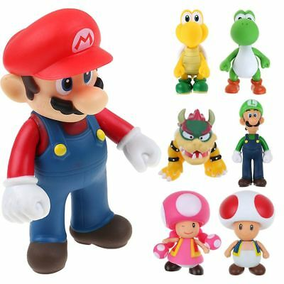 "Super Mario Bros Mario Luigi Bowser Toad Donkey Kong 5"" Action Figure Doll Toys"