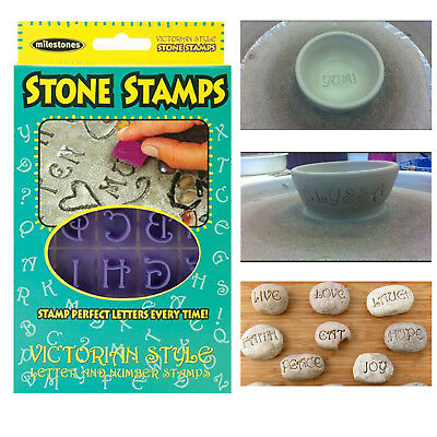 Concrete Stepping Stone Stamps Victorian Letters & Numbers Clay Yard Projects