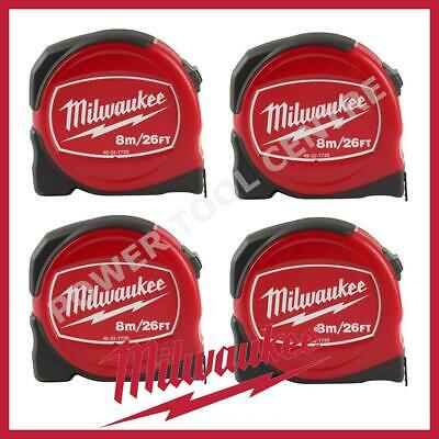 4x Milwaukee 48227726 Pro Compact Tape Measure 8m/26ft Jobsite Durable S8-26/25