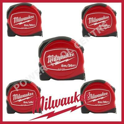 5x Milwaukee 48227726 Pro Compact Tape Measure 8m/26ft Jobsite Durable S8-26/25