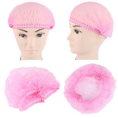 Disposable Non-woven Bouffant Cap Hair Net Cap Elastic Free 100pcs Pink ADF1