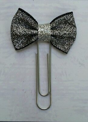 Planner Clip/Bookmark/ Place Marker Journal - Mini Silver Ribbon Bow Paperclip