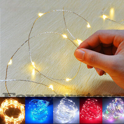 40/50/100 LED Battery Micro Rice Wire Copper Fairy String Lights Party white/rgb