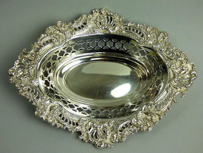 Victorian Antique Ornate Silver Bon Bon Dish London 1896 - 125 Grams