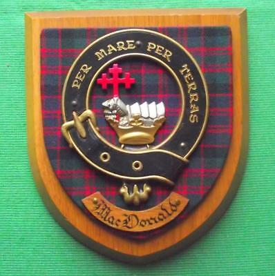 Vintage Scottish Hand Carved Oak Clan MacDonald Tartan Plaque Crest Shield